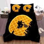 Stranger Things Mike & Eleven Riding Bicycle Under The Eggo Waffle Bed Sheets Spread Comforter Duvet Cover Bedding Sets
