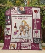 Beagle  And Wine Dogs She Also Needs Beagles Quilt Blanket Great Customized Blanket Gifts For Birthday Christmas Thanksgiving