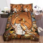 Raiders Of The Lost Ark Characters In Cartoon Art Bed Sheets Spread Comforter Duvet Cover Bedding Sets