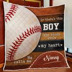This Boy Stole My Heart He Calls Me Nanny Quilt Blanket Great Customized Blanket Gifts For Birthday Christmas Thanksgiving