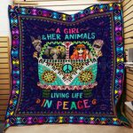 A Girl And Her Animals Living Life In Peace Quilt Blanket Great Customized Blanket Gifts For Birthday Christmas Thanksgiving