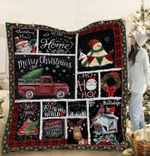 We Wish You A Merry Little Christmas Smiling Snowman Red Truck Quilt Blanket Great Customized Blanket Gifts For Birthday Christmas Thanksgiving