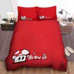 Super Mario Cute Super Mushroom On Red Bed Sheets Spread Comforter Duvet Cover Bedding Sets