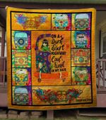 Bus Hippie Cool Wind In My Hair On  A Dark Desert Highway Quilt Blanket Great Customized Blanket Gifts For Birthday Christmas Thanksgiving