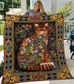 Flowers Grow From Cat's Tail Quilt Blanket Great Customized Blanket Gifts For Birthday Christmas Thanksgiving
