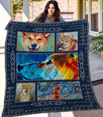 Shiba Inu Dog Blue Pattern Quilt Blanket Great Customized Blanket Gifts For Birthday Christmas Thanksgiving