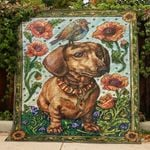 Brown Dachshund In Vintage Flowers With A Bird  Quilt Blanket Great Customized Blanket Gifts For Birthday Christmas Thanksgiving Perfect Gifts For Dachshund Lovers