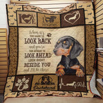 Dachshund Dog Drawing Beside You Love Dachshund's Pulse Quilt Blanket Great Customized Blanket Gifts For Birthday Christmas Thanksgiving
