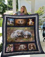 Australian Shepherd Dog Dog Couple Emotion Dog Cubs Lying Quilt Blanket Great Customized Blanket Gifts For Birthday Christmas Thanksgiving