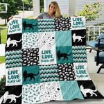 Black Cat Live Love Black Cat Zig Zag Pattern Quilt Blanket Great Customized Blanket Gifts For Birthday Christmas Thanksgiving