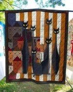 Alien Cat Long Neck Black Cats Colorful Pattern Quilt Blanket Great Customized Blanket Gifts For Birthday Christmas Thanksgiving