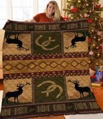 Silhouette Deer Deer Green Gold Theme Quilt Blanket Great Customized Blanket Gifts For Birthday Christmas Thanksgiving