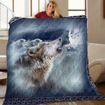 Wolf Call Of The Wild Howling Quilt Blanket Great Customized Gifts For Birthday Christmas Thanksgiving Perfect Gifts For Wolf Lover