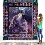 Wolf Pretty Girl Lover Beautiful Wolf Howling The Mist And Sparkle Sky Quilt Blanket Great Customized Blanket Gifts For Birthday Christmas Thanksgiving