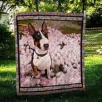 Bull Terrier With Flowers Quilt Blanket Great Customized Blanket Gift For Birthday Christmas Thanksgiving