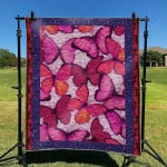 Pink And Red Butterfly Beautiful Quilt Blanket Great Customized Blanket Gift For Birthday Christmas Thanksgiving