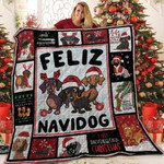 Dachshund Lovers Life Is Better Feliz Navidog Quilt Blanket Great Customized Blanket Gifts For Birthday Christmas Thanksgiving