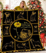 Pug I Reach For A Hand Sunflower Wizen Face Quilt Blanket Great Customized Blanket Gifts For Birthday Christmas Thanksgiving
