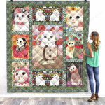 Lovely Cats Beauty Cats Quilt Blanket Great Customized Gifts For Birthday Christmas Thanksgiving Perfect Gifts For Cat Lover