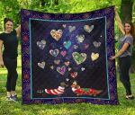 Dachshund With Firework King And Queen Hearts Quilt Blanket Great Customized Blanket Gifts For Birthday Christmas Thanksgiving