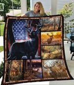 Deer Hunting And American Flag Quilt Blanket Great Customized Blanket Gifts For Birthday Christmas Thanksgiving