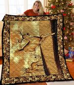 Deer Running Deer With Flowers Brown Quilt Blanket Great Customized Blanket Gifts For Birthday Christmas Thanksgiving