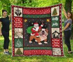 Santa Riding On A Bulldog Quilt Blanket Great Customized Blanket Gifts For Birthday Christmas Thanksgiving