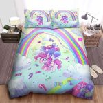 My Little Pony Pinkie Pie Flying Over The Rainbow Digital Art Bed Sheets Spread Comforter Duvet Cover Bedding Sets