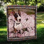 Bull Terrier Floral Bull With Flowers Quilt Blanket Great Customized Blanket Gifts For Birthday Christmas Thanksgiving