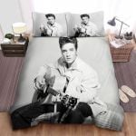 Elvis Presley With Guitar In Black & White Photograph Bed Sheets Spread Comforter Duvet Cover Bedding Sets