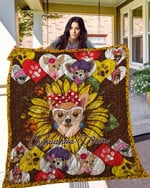 Chihuahua Chihuahua Mom Chihuahua And Sunflower Dog Wearing Red Bow Quilt Blanket Great Customized Blanket Gifts For Birthday Christmas Thanksgiving