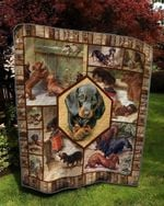 Dachshund Dog Friends Dogs Playing Quilt Blanket Great Customized Blanket Gifts For Birthday Christmas Thanksgiving
