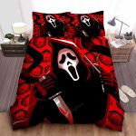Black Ghostface On Red Theme Digital Painting Bed Sheets Spread Comforter Duvet Cover Bedding Sets