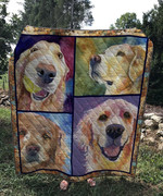 Golden Retriever Face Emotion Quilt Blanket Great Customized Blanket Gifts For Birthday Christmas Thanksgiving