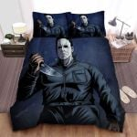 Michael Myers With Mirror Shine Knife In Comic Art Style Bed Sheets Spread Comforter Duvet Cover Bedding Sets