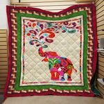 Elephant Floral Motifs Elephant Motifs Quilt Blanket Great Customized Gifts For Birthday Christmas Thanksgiving Anniversary