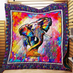 Coloful Elephant I Am Brave Quilt Blanket Great Customized Gifts For Birthday Christmas Thanksgiving Anniversary