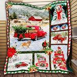 Golden Retriever And Christmas Love Happy Dogs Christmas Red Truck Quilt Blanket Great Customized Blanket Gifts For Birthday Christmas Thanksgiving