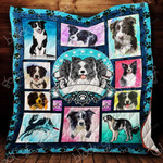 Border Collie Dogs Drawing Cute Quilt Blanket Great Customized Gifts For Birthday Christmas Thanksgiving Anniversary