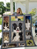 Border Collie Dogs Emotion Cute Quilt Blanket Great Customized Gifts For Birthday Christmas Thanksgiving Anniversary