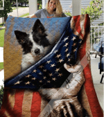 Border Collie Dogs And American Flag Quilt Blanket Great Customized Gifts For Birthday Christmas Thanksgiving Anniversary