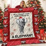 Elephant All I Want For Christmas Elephant Wearing Christmas Hat Quilt Blanket Great Customized Blanket Gifts For Birthday Christmas Thanksgiving