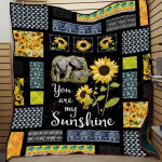 Elephant Sunflower You Are My Sunshine White Elephant Pattern Quilt Blanket Great Customized Blanket Gifts For Birthday Christmas Thanksgiving