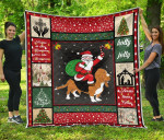 Christmas Basset Hound And Santa Drawing Santa Riding A Dog Quilt Blanket Great Customized Blanket Gifts For Birthday Christmas Thanksgiving