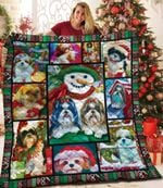 Christmas Shih Tzu Dog And Snowman Quilt Blanket Great Customized Blanket Gifts For Birthday Christmas Thanksgiving