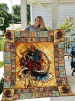 Lion Native America Lion With Wings And Curve Horns Quilt Blanket Great Customized Blanket Gifts For Birthday Christmas Thanksgiving