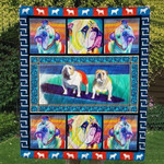 Bulldog Sad Dog Turning Head Colored Dogs Quilt Blanket Great Customized Blanket Gifts For Birthday Christmas Thanksgiving