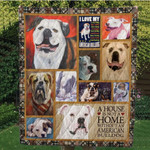 Bulldog  Lover Boy My American Bulldog Big Mouth Quilt Blanket Great Customized Blanket Gifts For Birthday Christmas Thanksgiving
