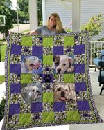 American Bulldog Funny Face Green Paws Purple Paws Quilt Blanket Great Customized Blanket Gifts For Birthday Christmas Thanksgiving