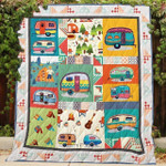 Camping Family Happy Trip Quilt Blanket Great Gifts For Birthday Christmas Thanksgiving